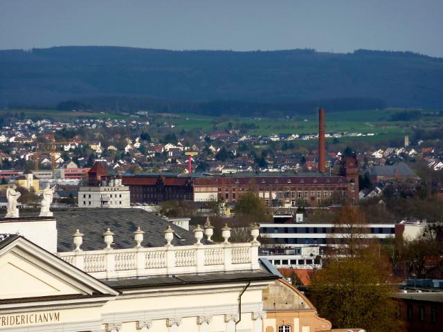 Die Salzmann-Fabrik vom FRK-Balkon aus gesehen (2016-04-09)